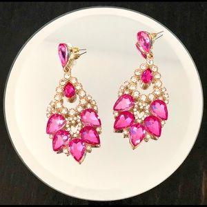 Pink Silver & Gold Chandelier Earrings